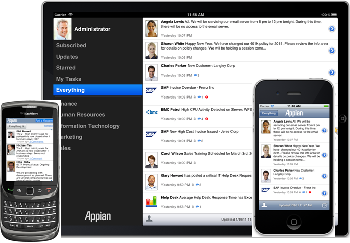 Mobile device shots showing Appian