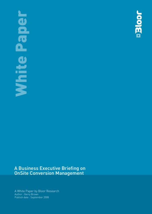 Cover for A Business Executive Briefing on OnSite Conversion Management