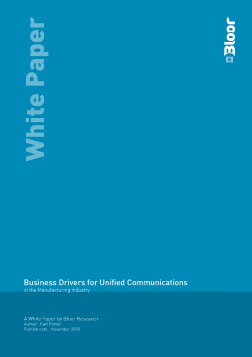 Cover for Business Drivers for Unified Communications