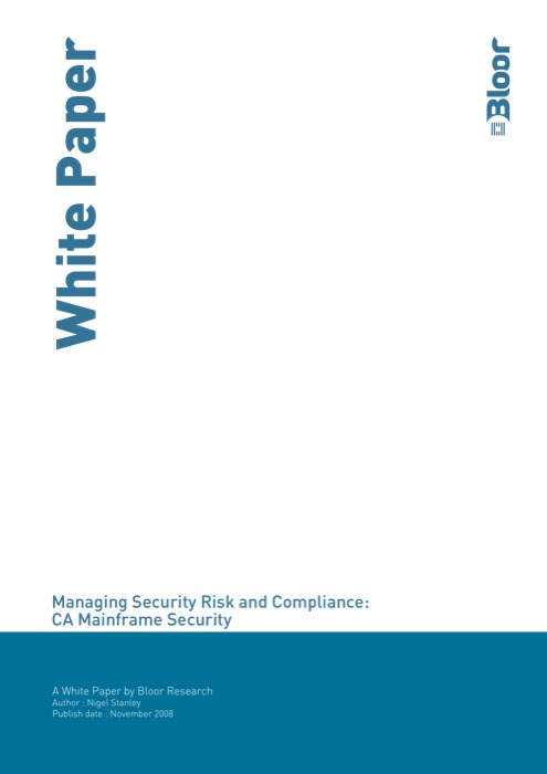 Cover for Managing Security Risk and Compliance