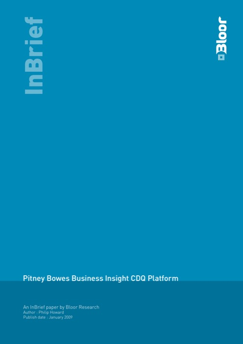 Cover for Pitney Bowes Business Insight CDQ Platform
