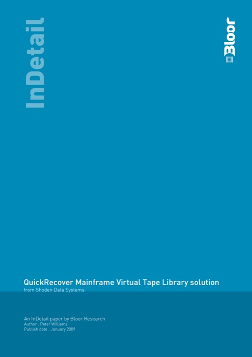 Cover for QuickRecover Mainframe Virtual Tape Library solution