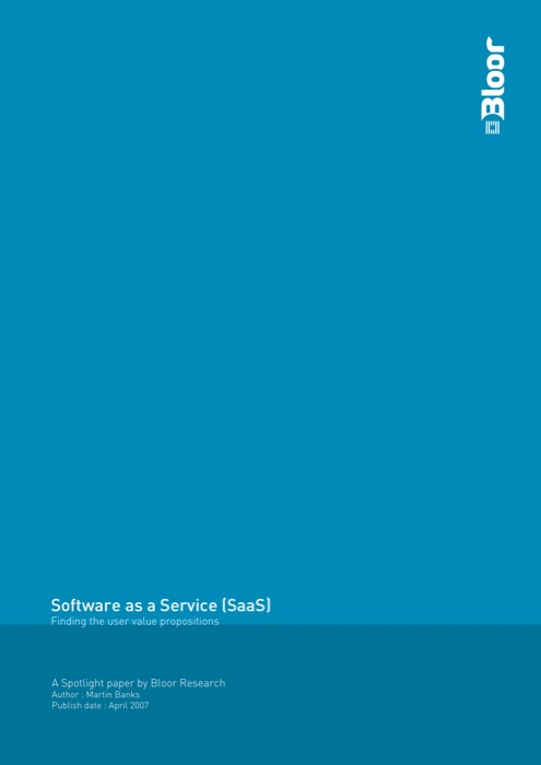 Cover for Software as a Service (SaaS) - Finding the user value propositions
