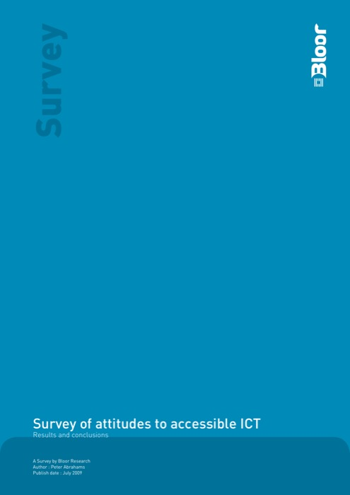 Cover for Survey of attitudes to accessible ICT