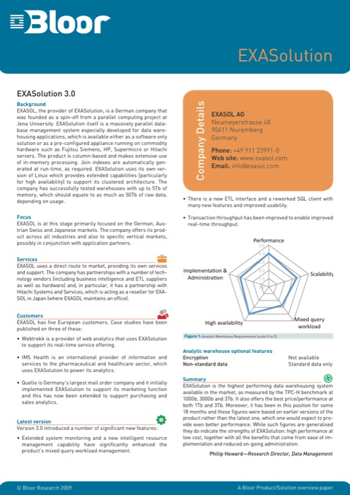 Cover for EXASolution 3.0