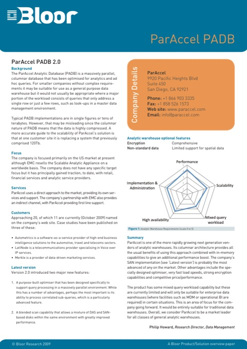 Cover for ParAccel PADB 2.0