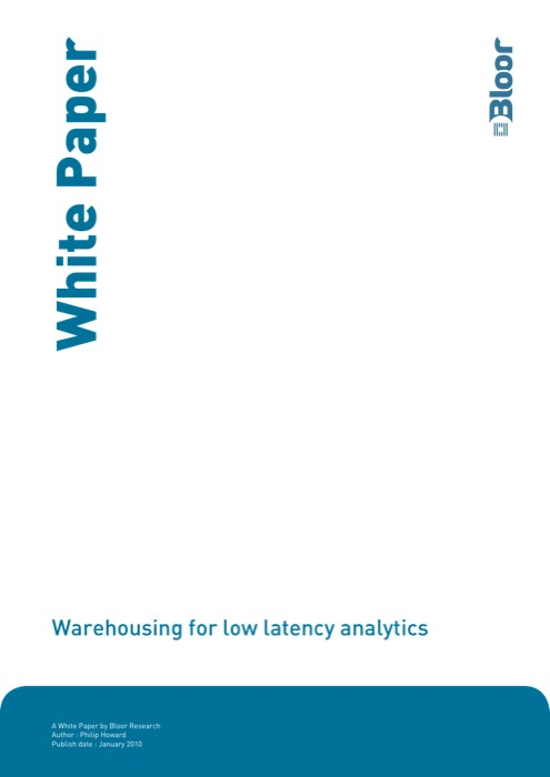 Cover for Warehousing for low latency analytics