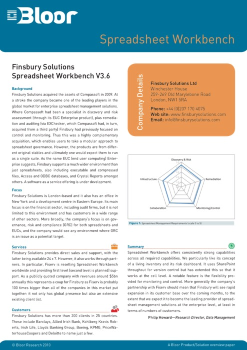 Cover for Finsbury Solutions Spreadsheet Workbench V3.6