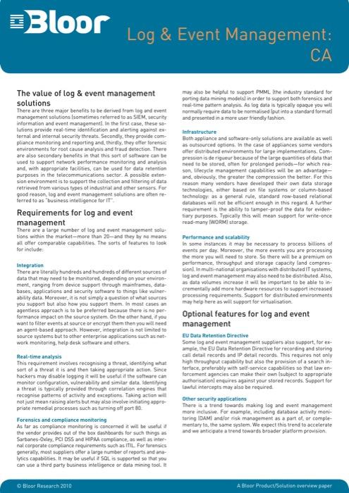 Cover for Log & Event Management: CA