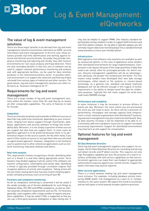 Cover for Log & Event Management: eIQnetworks