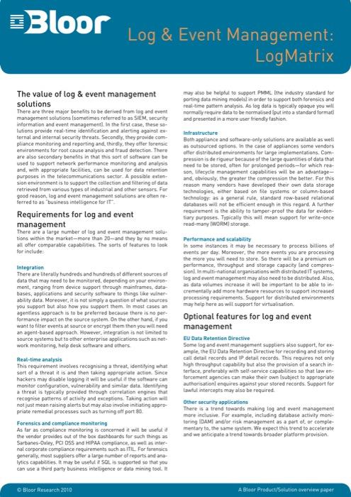 Cover for Log & Event Management: LogMatrix