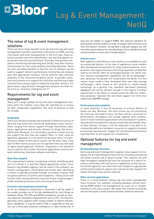 Cover for Log & Event Management: NetIQ