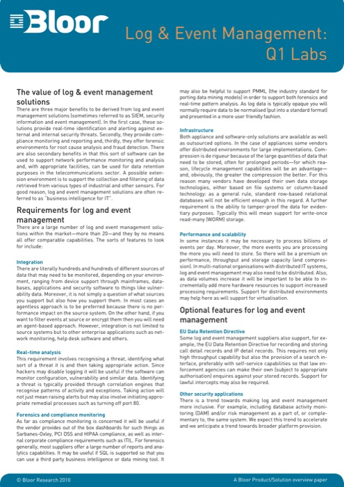 Cover for Log & Event Management: Q1 Labs