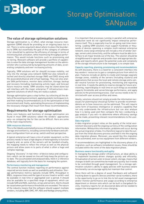 Cover for Storage Optimisation: SANpulse