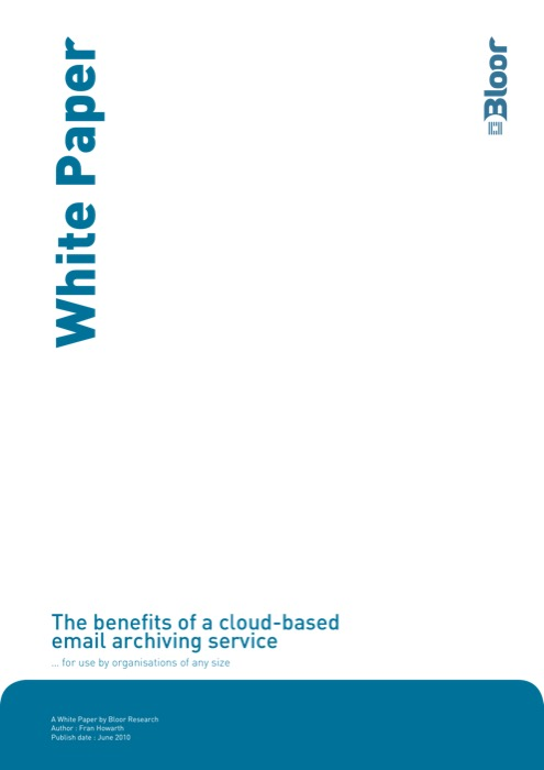 Cover for The benefits of a cloud-based email archiving service