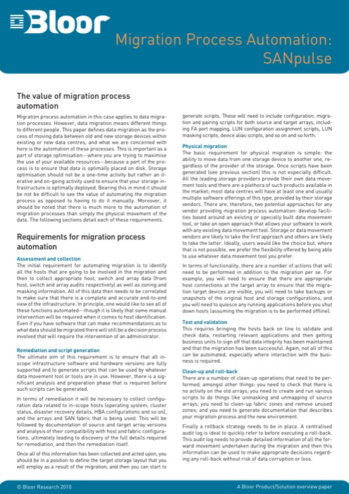 Cover for Migration Process Automation: SANpulse