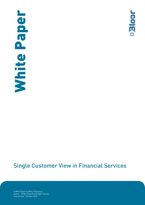Cover for Single Customer View in Financial Services