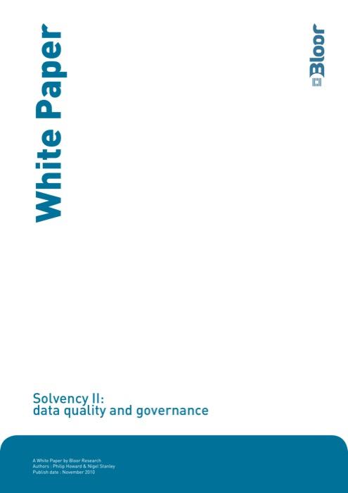 Cover for Solvency II: data quality and governance