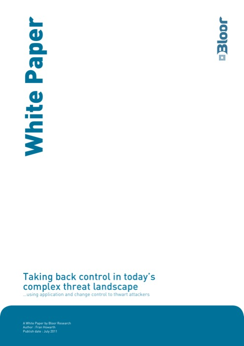 Cover for Taking back control in today's complex threat landscape