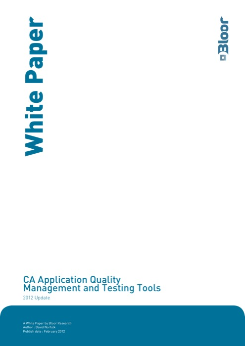Cover for CA Application Quality Management and Testing Tools