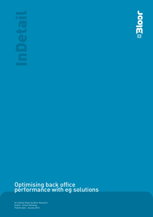 Cover for Optimising back office performance with eg solutions