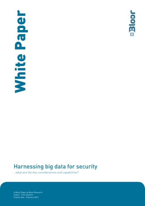 Cover for Harnessing big data for security