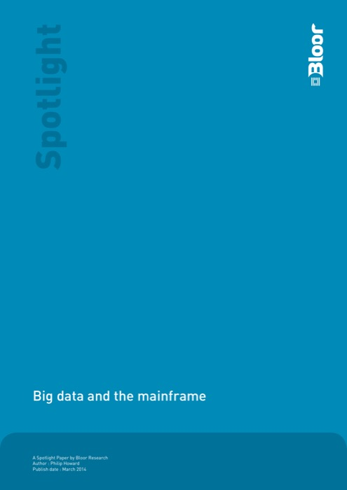 Cover for Big data and the mainframe