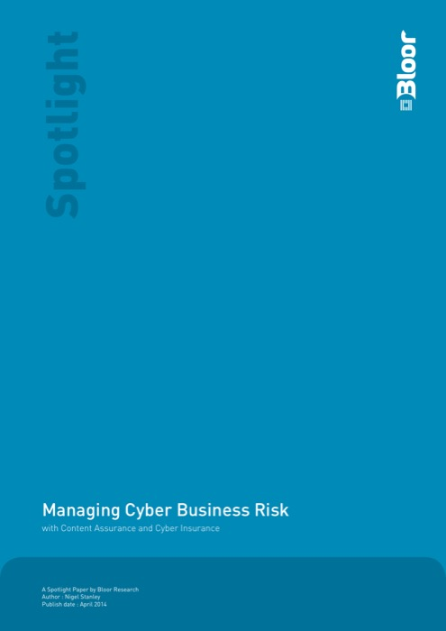 Cover for Managing Cyber Business Risk - with Content Assurance and Cyber Insurance
