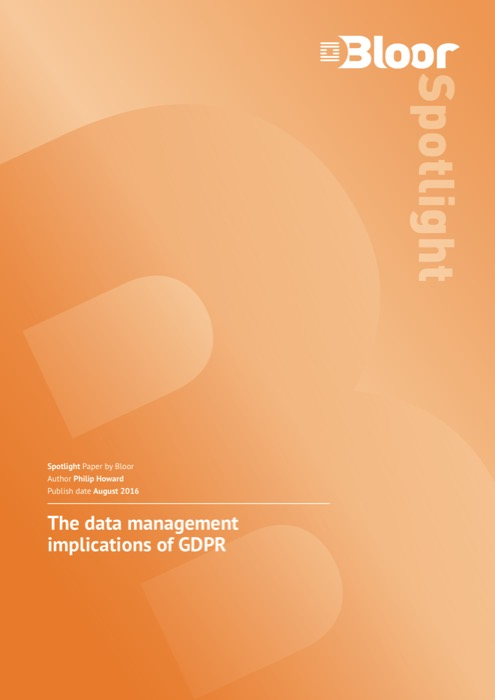 Cover for The data management implications of GDPR