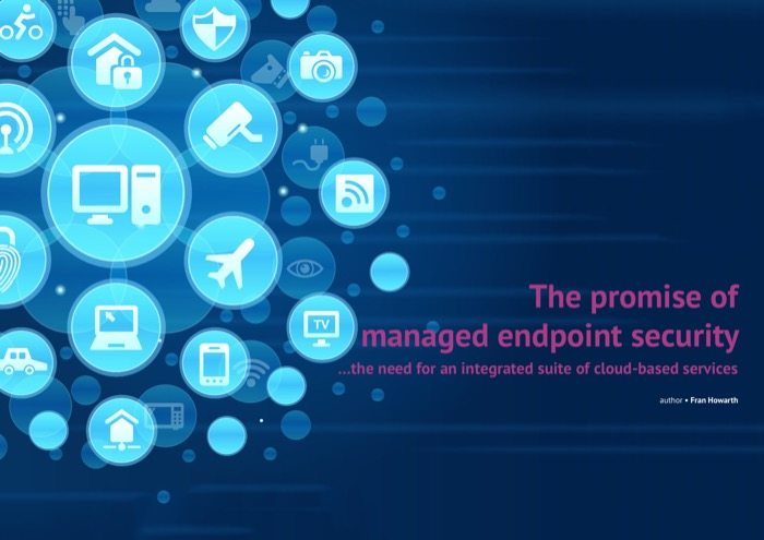 Cover for The promise of managed endpoint security - ...the need for an integrated suite of cloud-based services