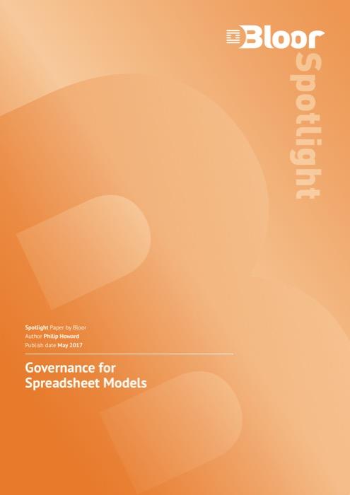 Cover for Governance for Spreadsheet Models