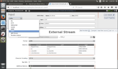 Figure 2 – SQLStream StreamLab showing connectivity options
