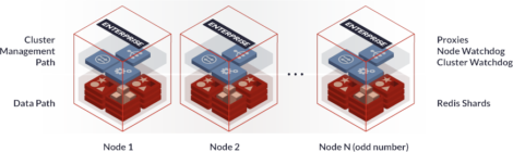 Fig 02 Redis shared nothing symmetric architecture with node and cluster watchdogs