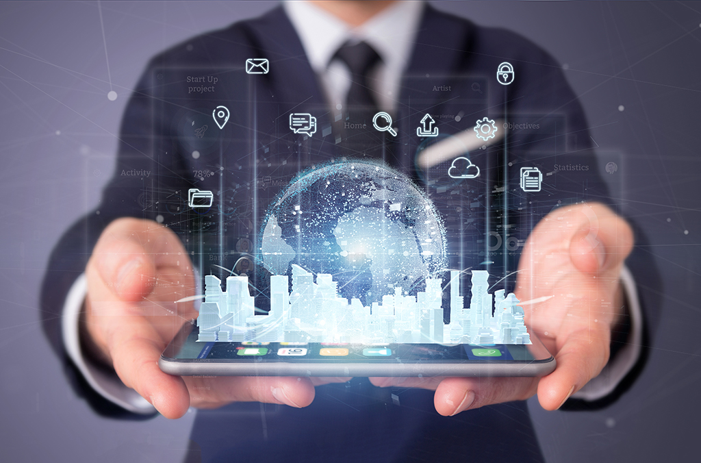 Services Are A Must In Today's Complex Hybrid IT World -View Of Businessman Holding Smart City User Interface With Icon, Stats And Data 3d Rendering