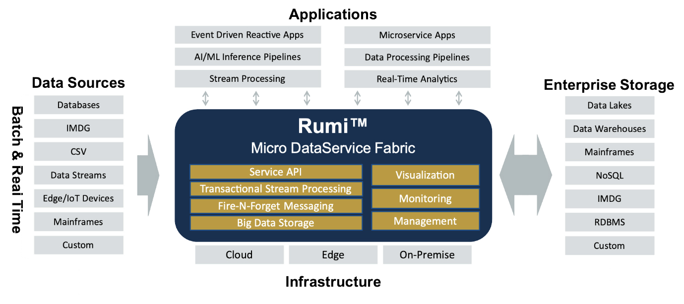 Fig 02 - High-level functionality of Rumi Micro DataService Fabric
