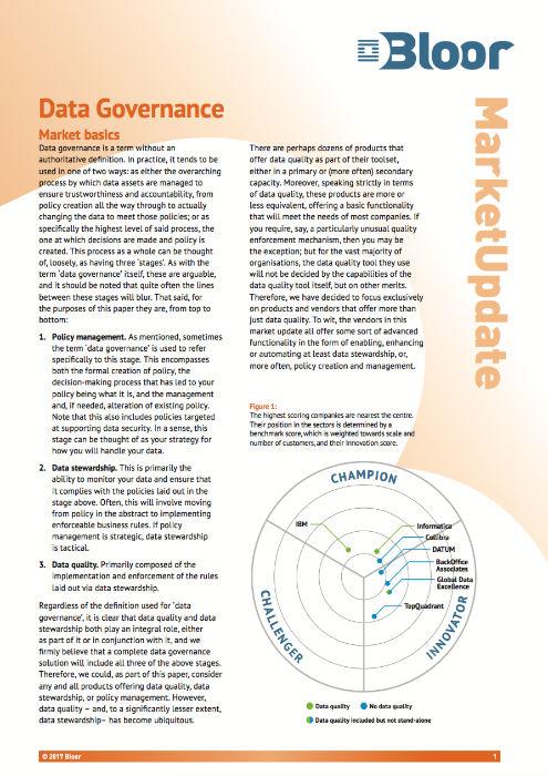 Cover for Data Governance 2017