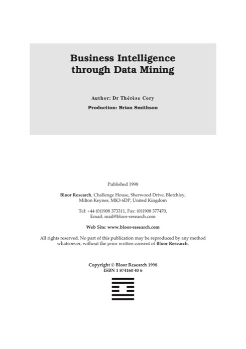 Cover for Business Intelligence through Data Mining