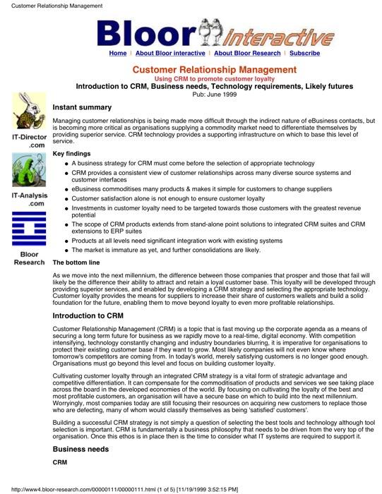 Cover for Customer Relationship Management