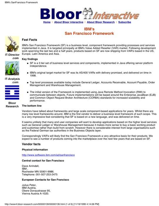 Cover for IBM San Francisco Framework (e-Components)