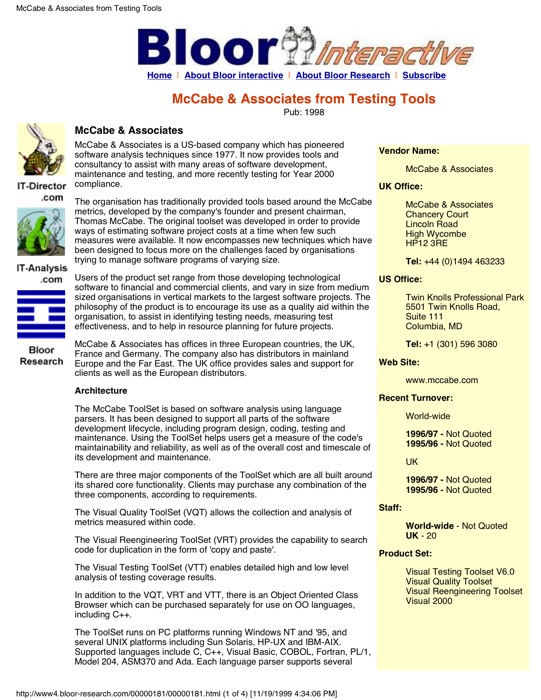 McCabe ToolSet – Bloor Research
