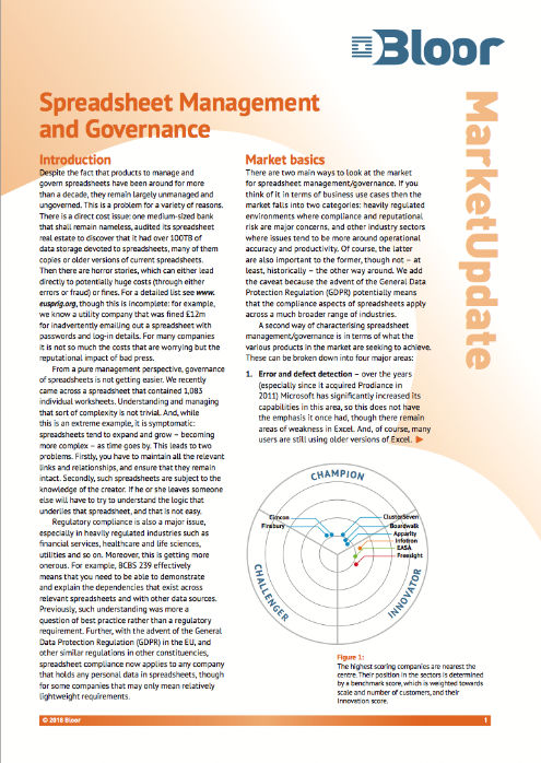Cover for Spreadsheet Management and Governance