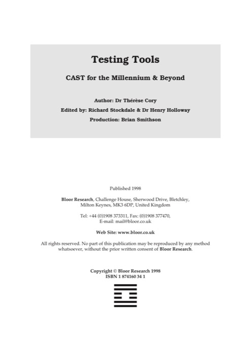 Cover for Testing Tools