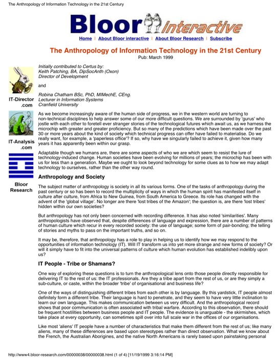 Cover for The Anthropology of Information Technology in the 21st Century