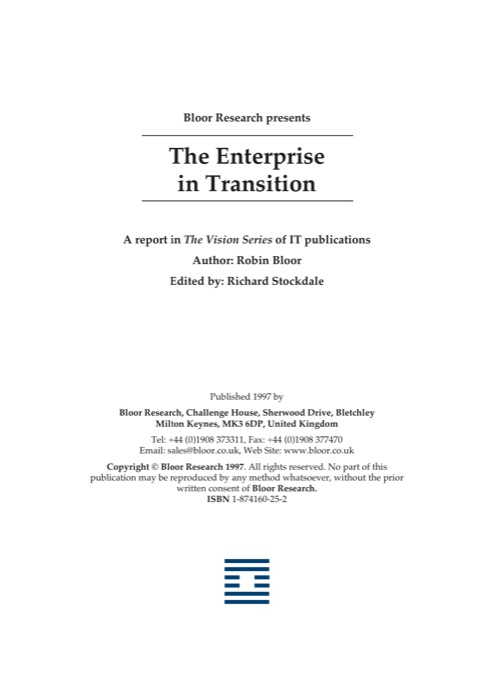 Cover for The Enterprise in Transition