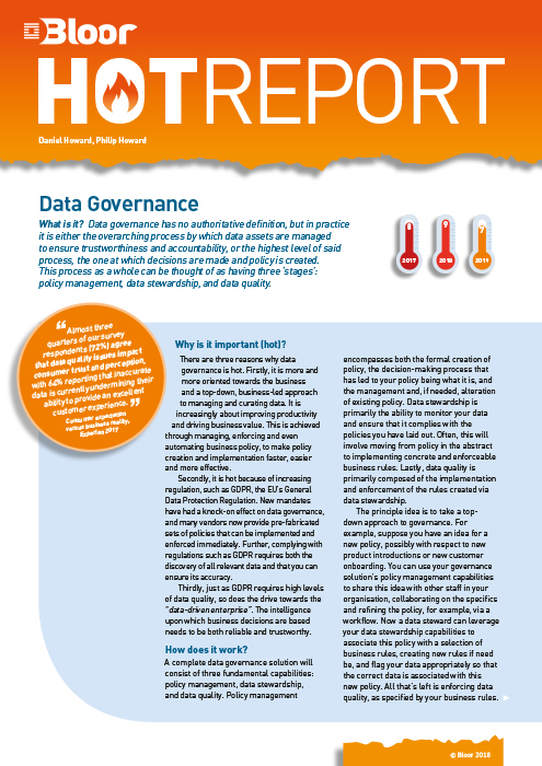 Cover for Data Governance