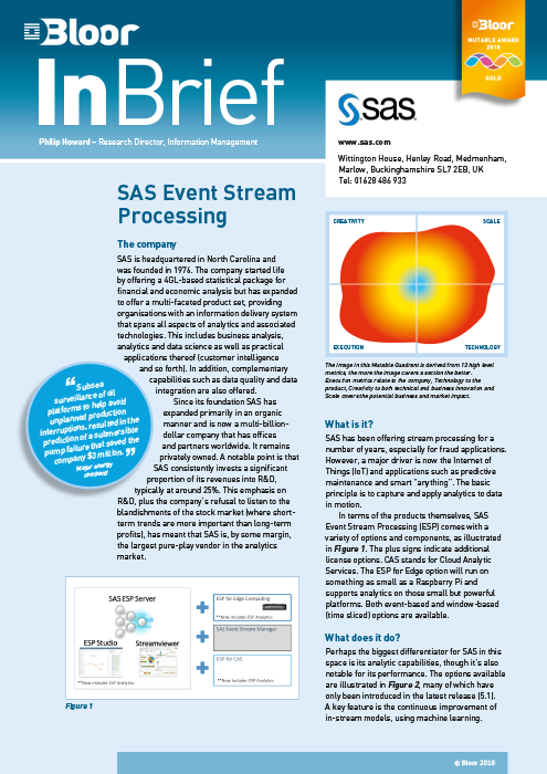 Cover for SAS Event Stream Processing