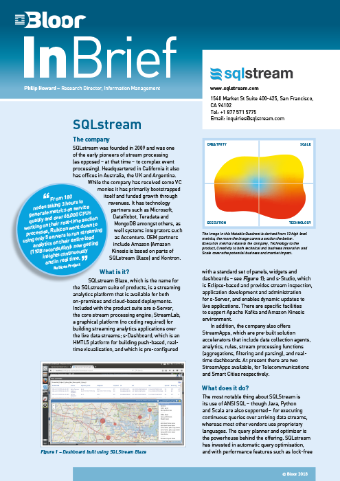 Cover for SQLstream