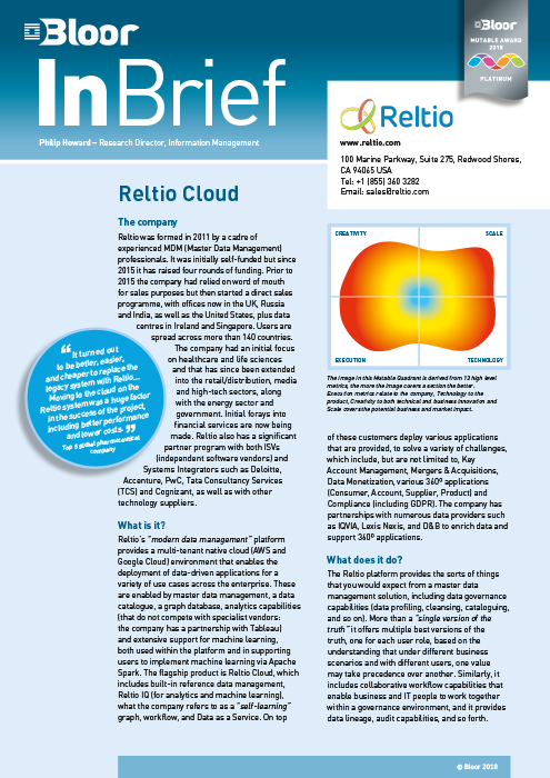 Cover for Reltio Cloud
