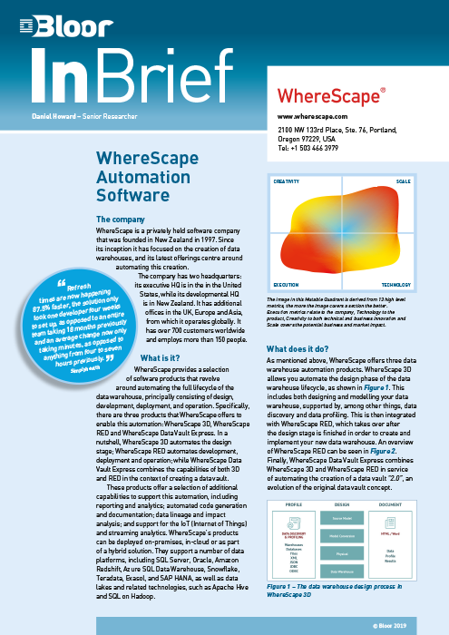 Cover for WhereScape Automation Software