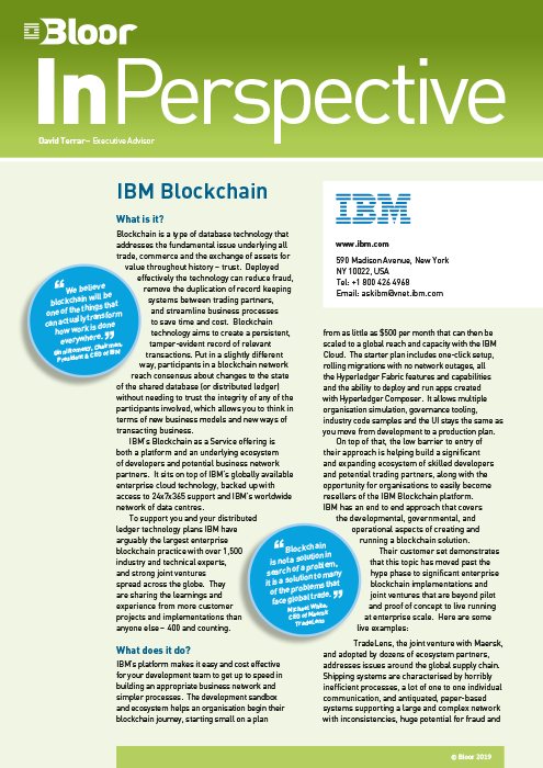 Cover for IBM Blockchain as a Service